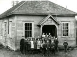 A young Florence Reyes MacGregor at Schoolhouse, Blyn, WA, 1910